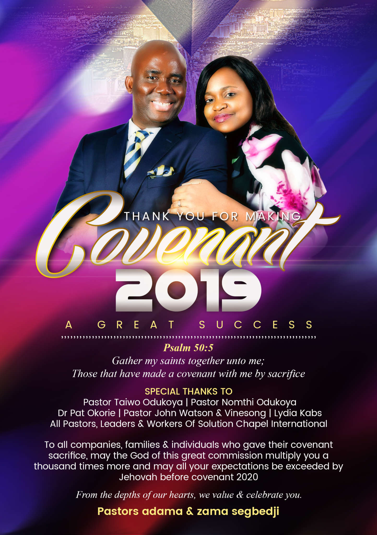 THANK YOU FOR MAKING COVENANT 2019 A GREAT SUCCESS