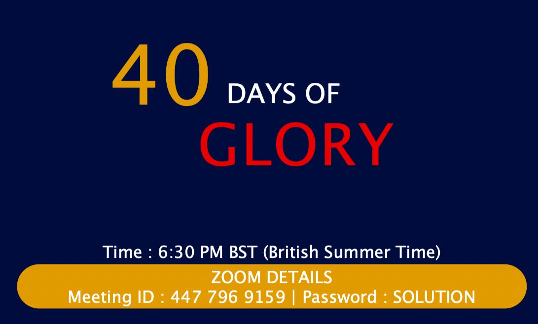 40 Days of Glory 2021, Day 10